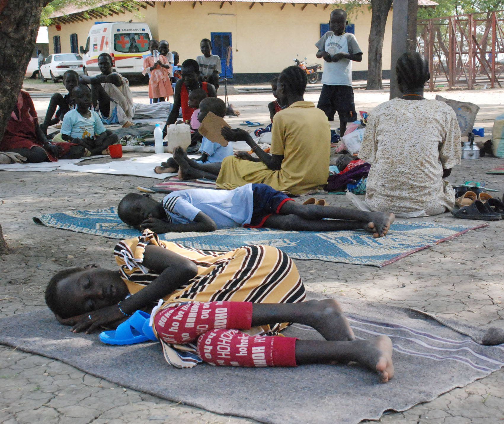 Patients suffering from kala azar disease rest in the grounds of Malakal hospital, Upper Nile state