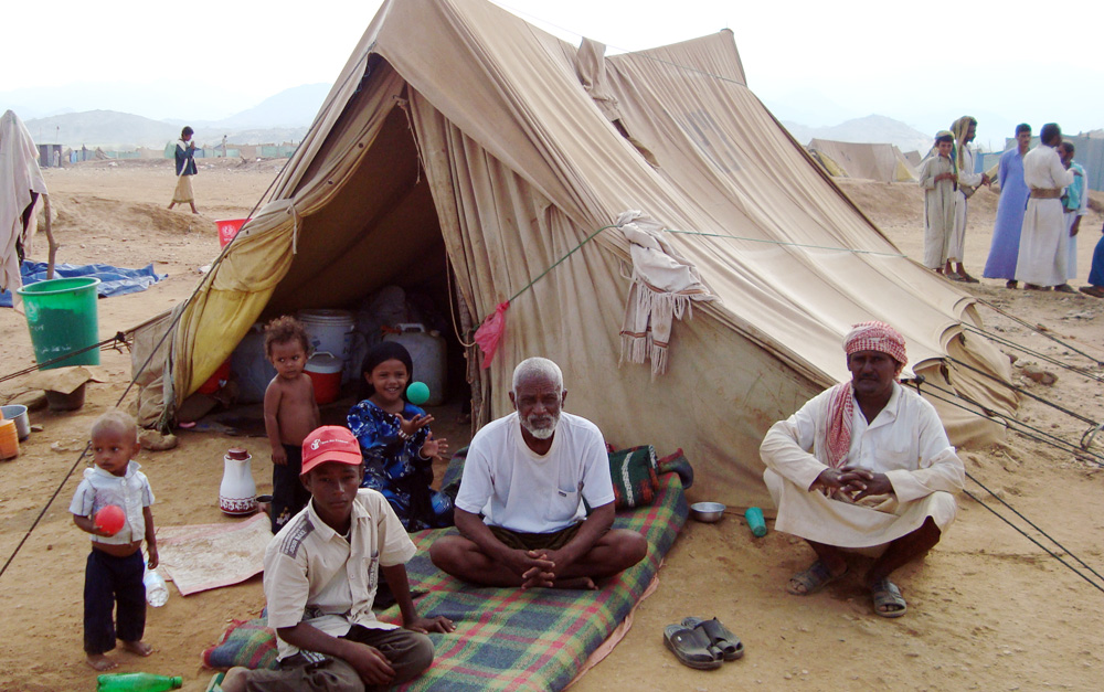 An IDP family in al-Mazraq camp in Haddadh District, Hajjah Governorate