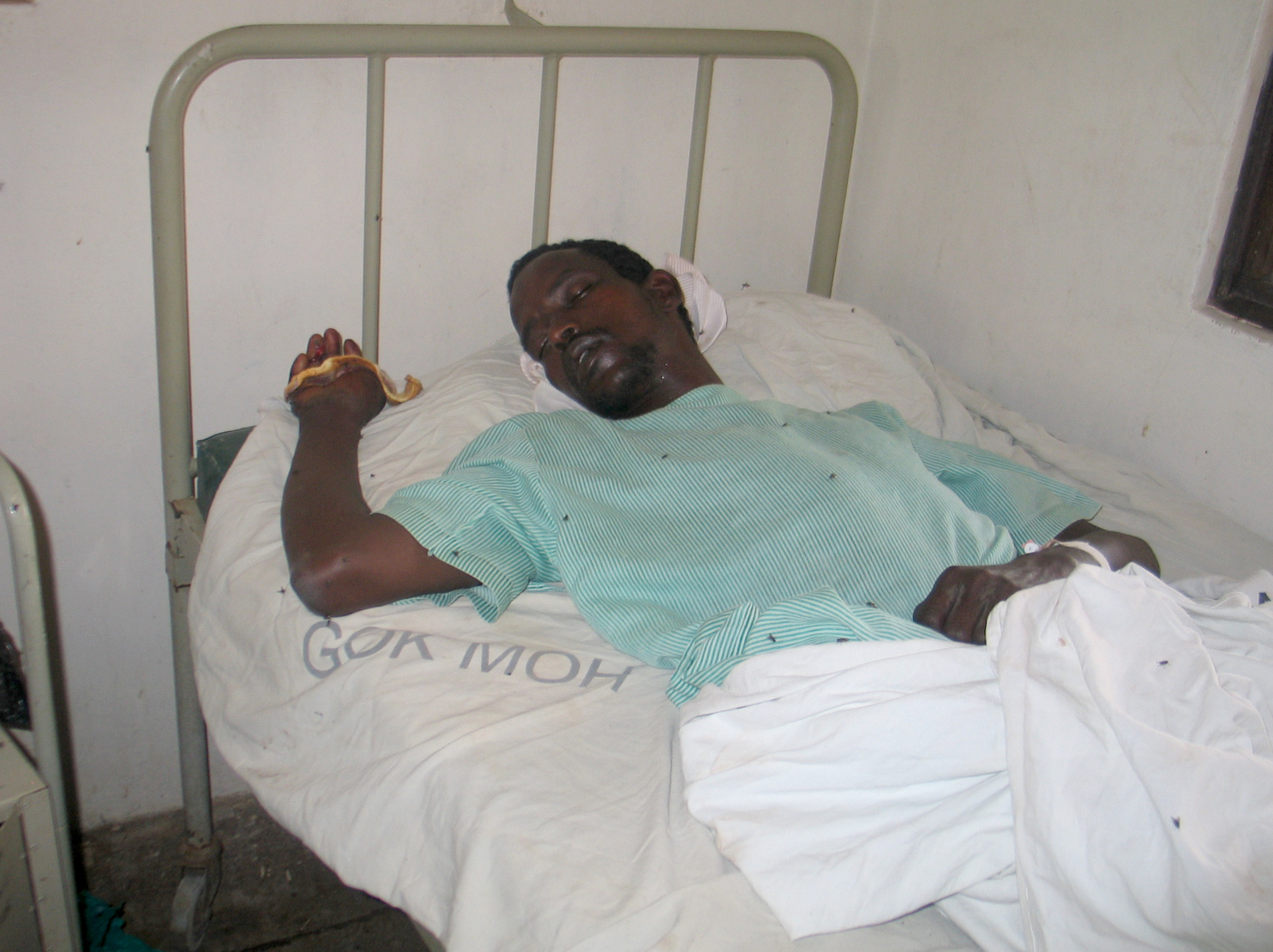 Mohammed Barre recovers at Isiolo district hospital after being injured during a raid at Gambella area, Isiolo