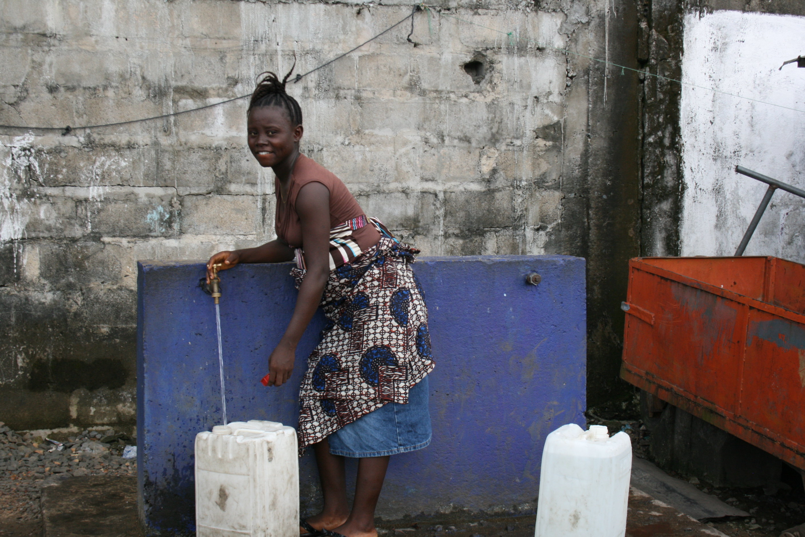 Taps built by Concern to provide clean drinking water to Clara Town residents in Monrovia