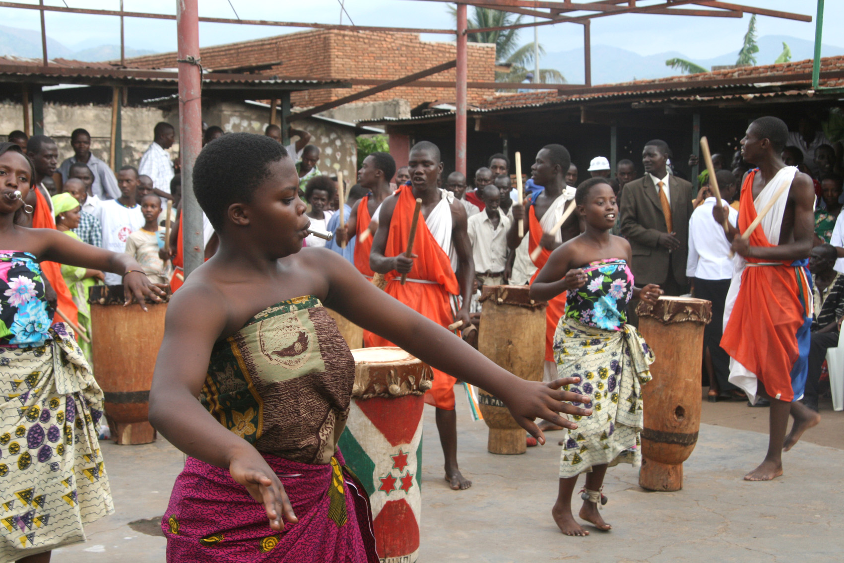 Traditional dancers perform at the opening of an office by the Movement for Solidarity and Democracy (MSD) political party in Bujumbura's Cibitoke District