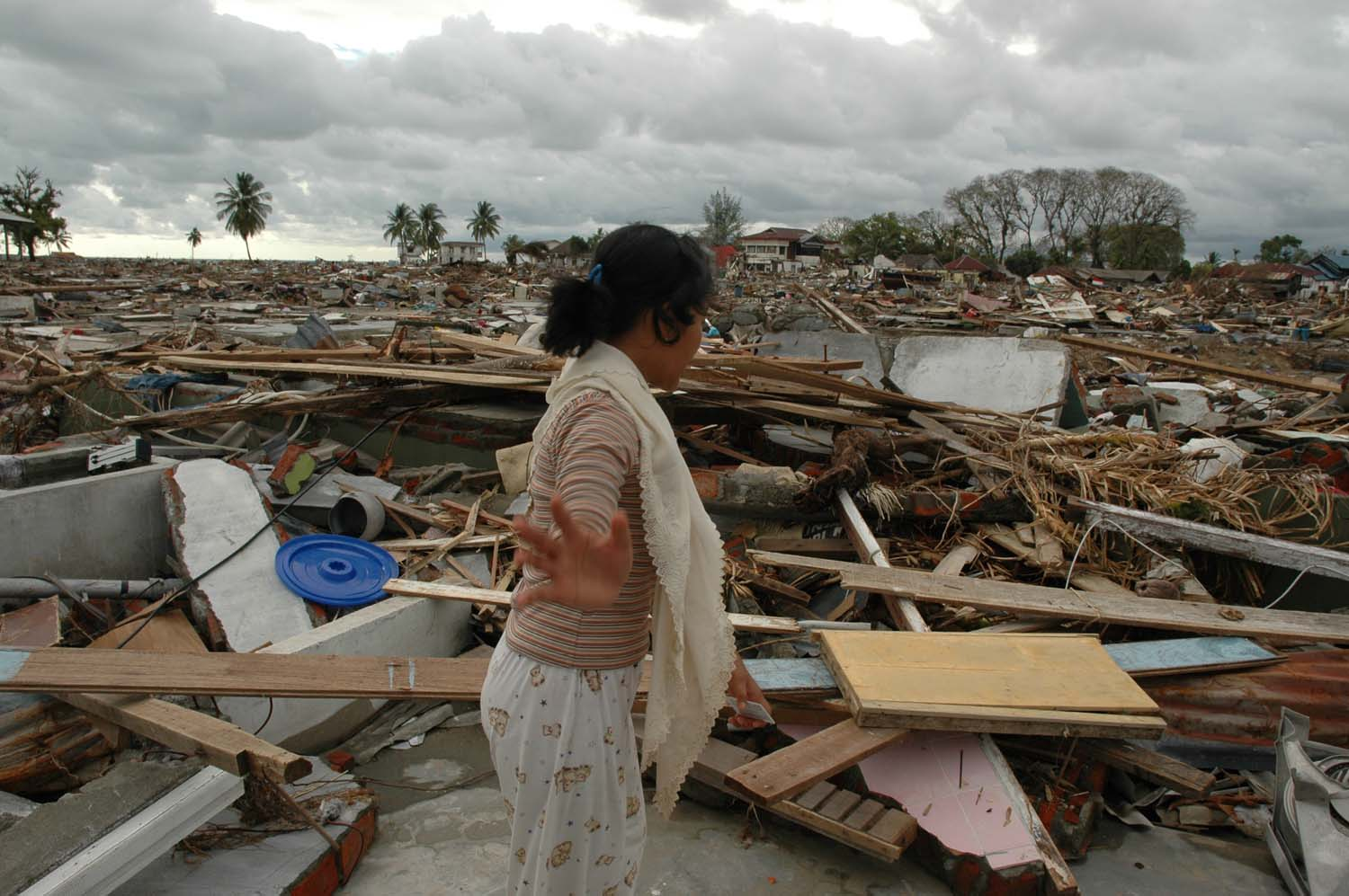 A student surveys the remains of her house in a village in West Aceh after the 2004 Indian Ocean tsunami. The student survived because she had left the village for a holiday, but she lost 40 members of her family