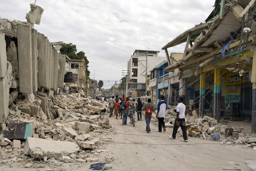 A view of a street in downtown Port-au-Prince illustrates the extensive damage wreaked by the 12 January