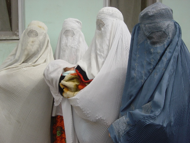 Women wait for child vaccinations in Faizabad, Badakhshan