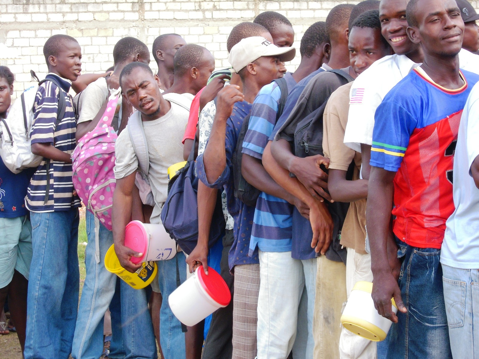 People in line for food distribution in Jacmel, Haiti