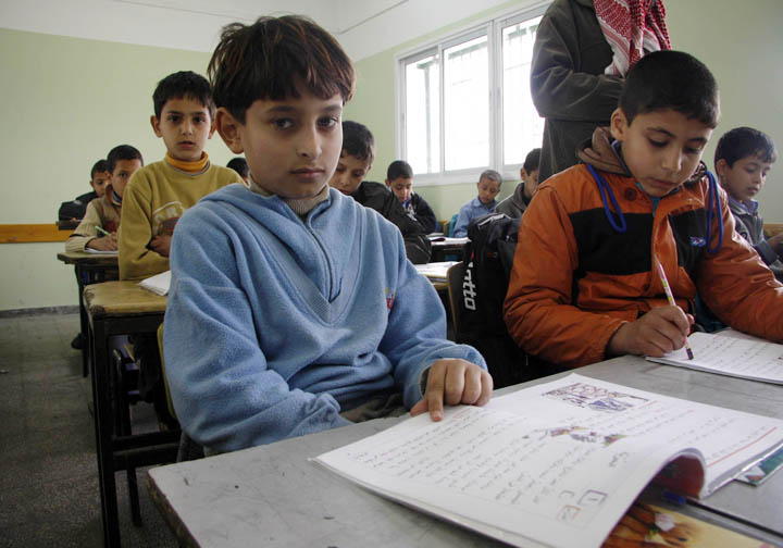 Mohammed al-Khouli, 9, in a technology class at al-Mu'tasem Elementary School in Gaza City