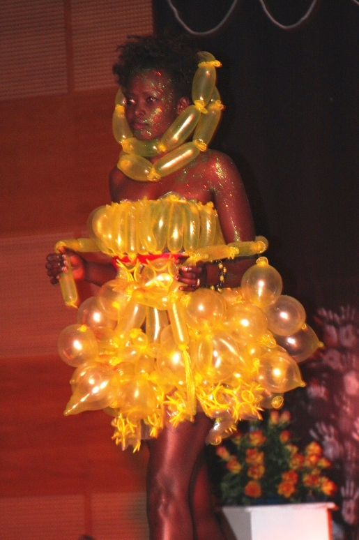 A model wearing an outfit made entirely from condoms during a condom fashion show in Addis Ababa, Ethiopia