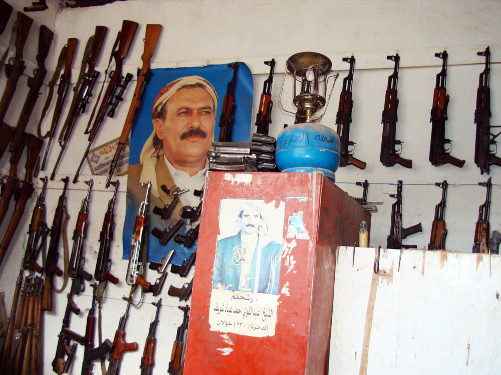 Shops outside main cities in Yemen still sell arms openly