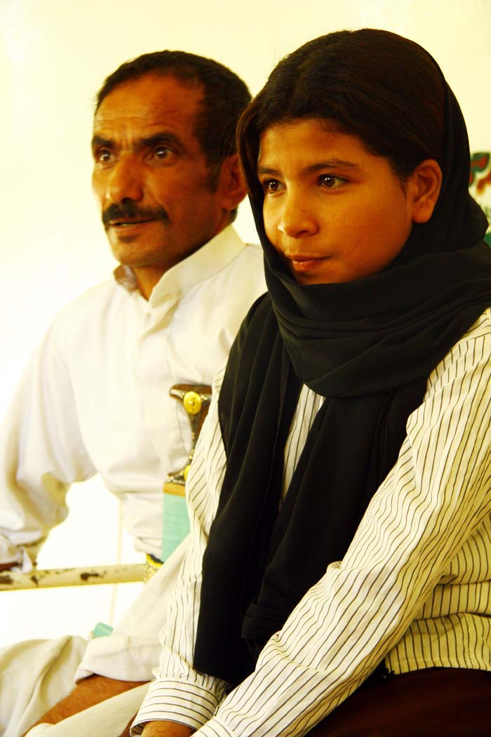 Former child bride Nojood made head lines worldwide when at the age of nine she was granted a divorce. Today she lives with her father (left) and rest of her family