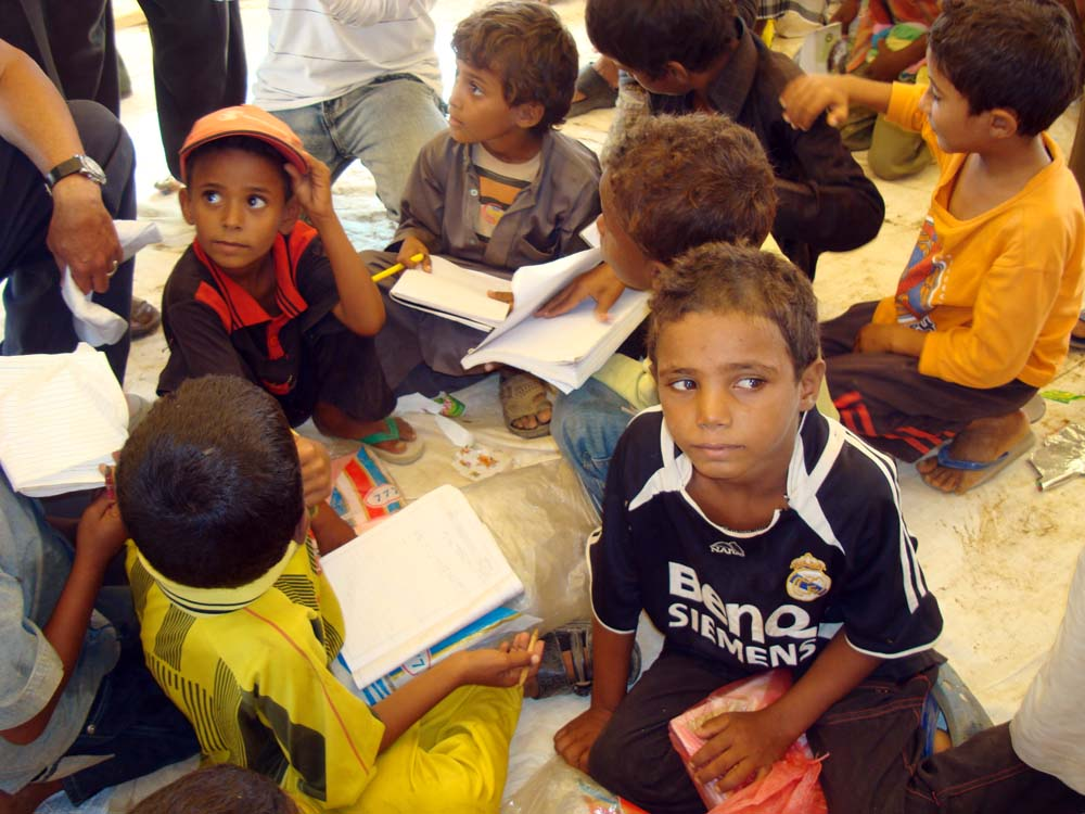 Chidren studying in a tent in Mazraq IDP camp in Hajjah Governorate. Only 3 percent of children in Saada have access to education