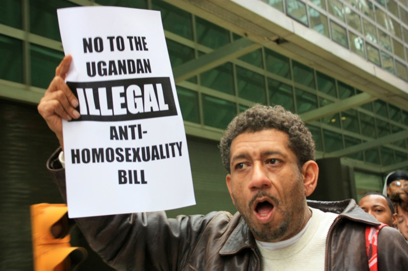 A protester holds up a sign at a rally against Uganda's Anti-Homosexuality Bill, 2009, in November 2009 at the Uganda High Commission in New York, USA