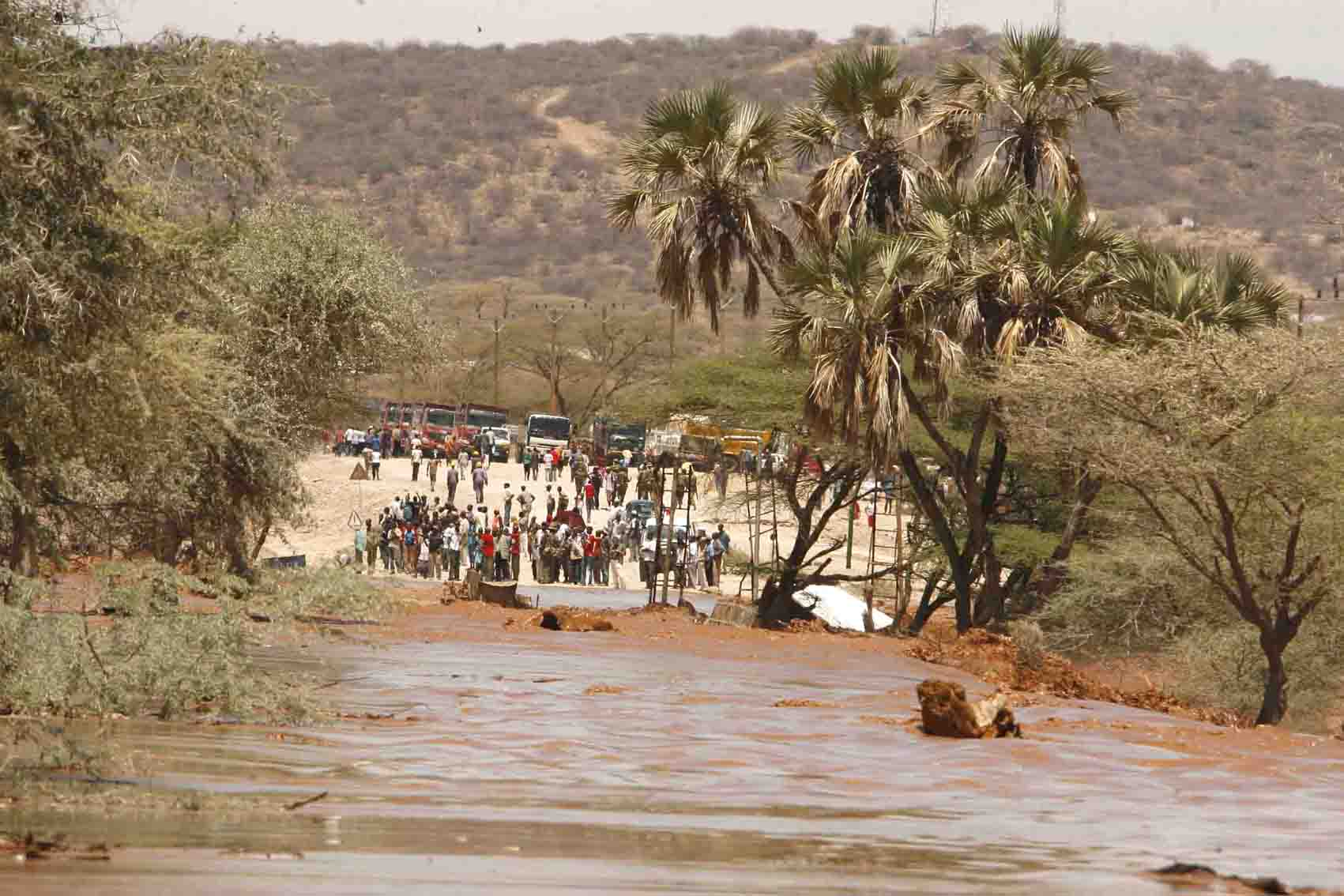 Flooded Ewaso Nyiro river along Isiolo/Samburu districts following heavy rains which caused destruction of five tourists lodges and forced an evacuation of more than 200 tourists