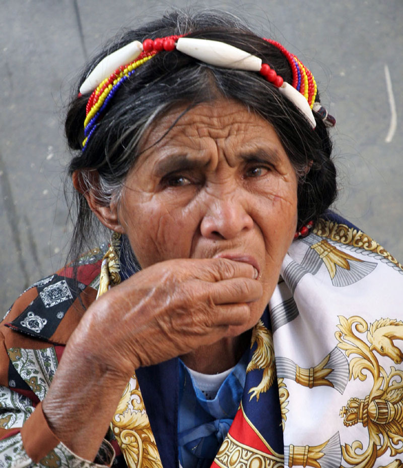 An elderly Igorot tribeswoman from upland Sagada region in the northern Philippines eats food. Officials are warning that an El Nino-induced drought could impact on the impoverished country's food security