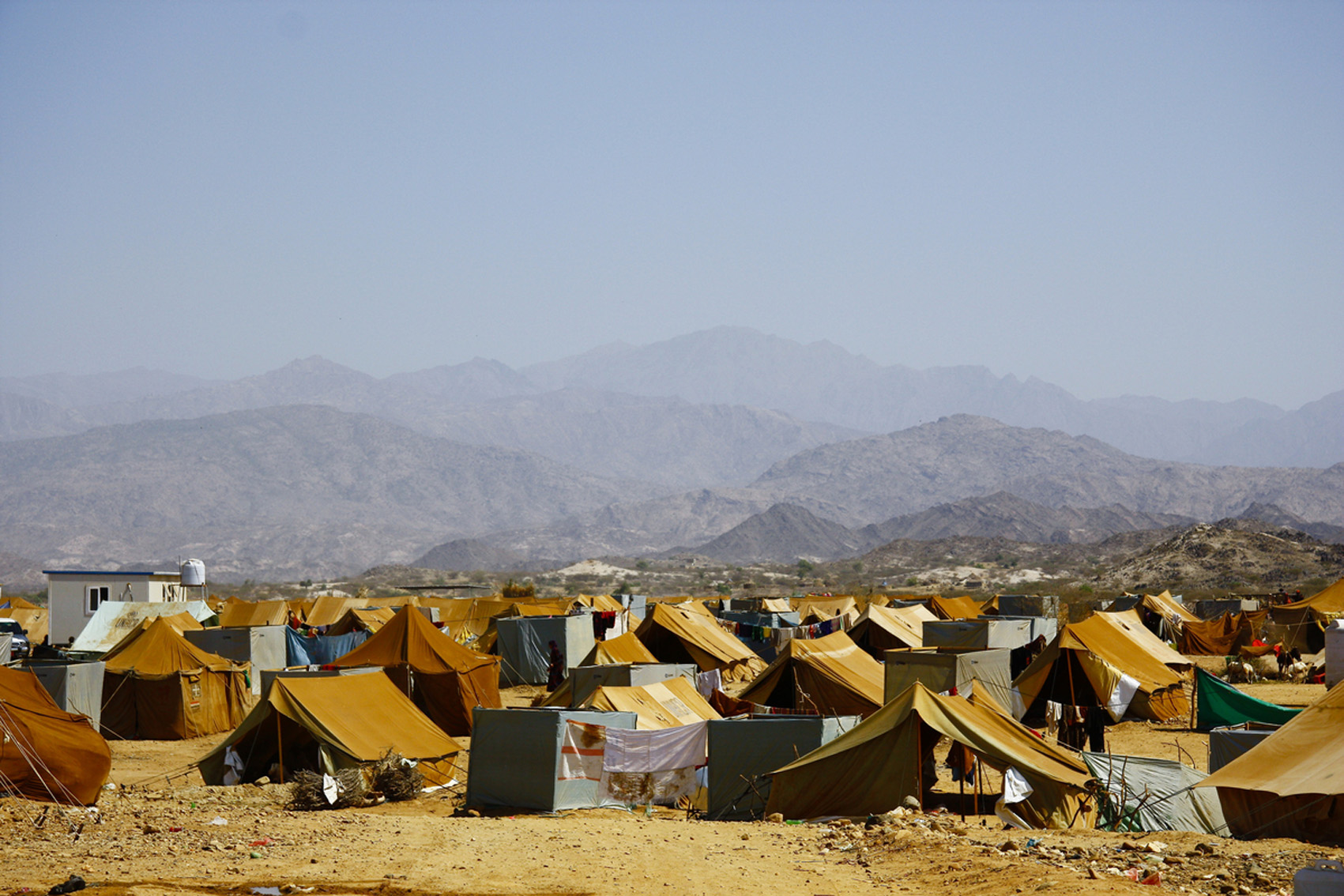 Mazrak camp in the tough mountainous scrublands of Yemen's north-west border with Saudi Arabia is now home to more than 10,000 people displaced by the escalating war between the government and rebels from the Huthi clan