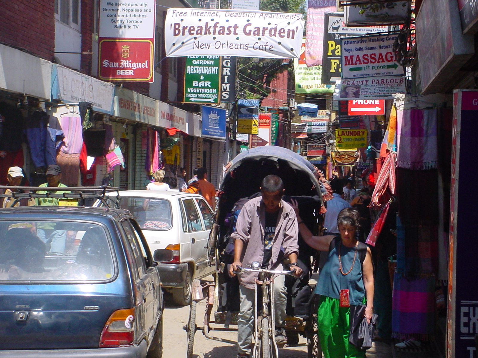 A busy street in Kathmandu's Thamel area. Kathmandu is the most densely populated city in the whole country and considered at high risk of an earthquake