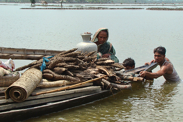 Thousands of survivors Cyclone Aila found themselves marooned at the end of March 2010 when the earthen embankments meant to protect them gave way to rising river water levels