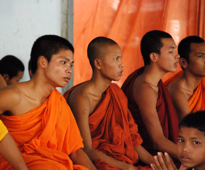 A group of ethnic Vietnamese monks at at a pagoda in the Cambodian capital Phnom Penh