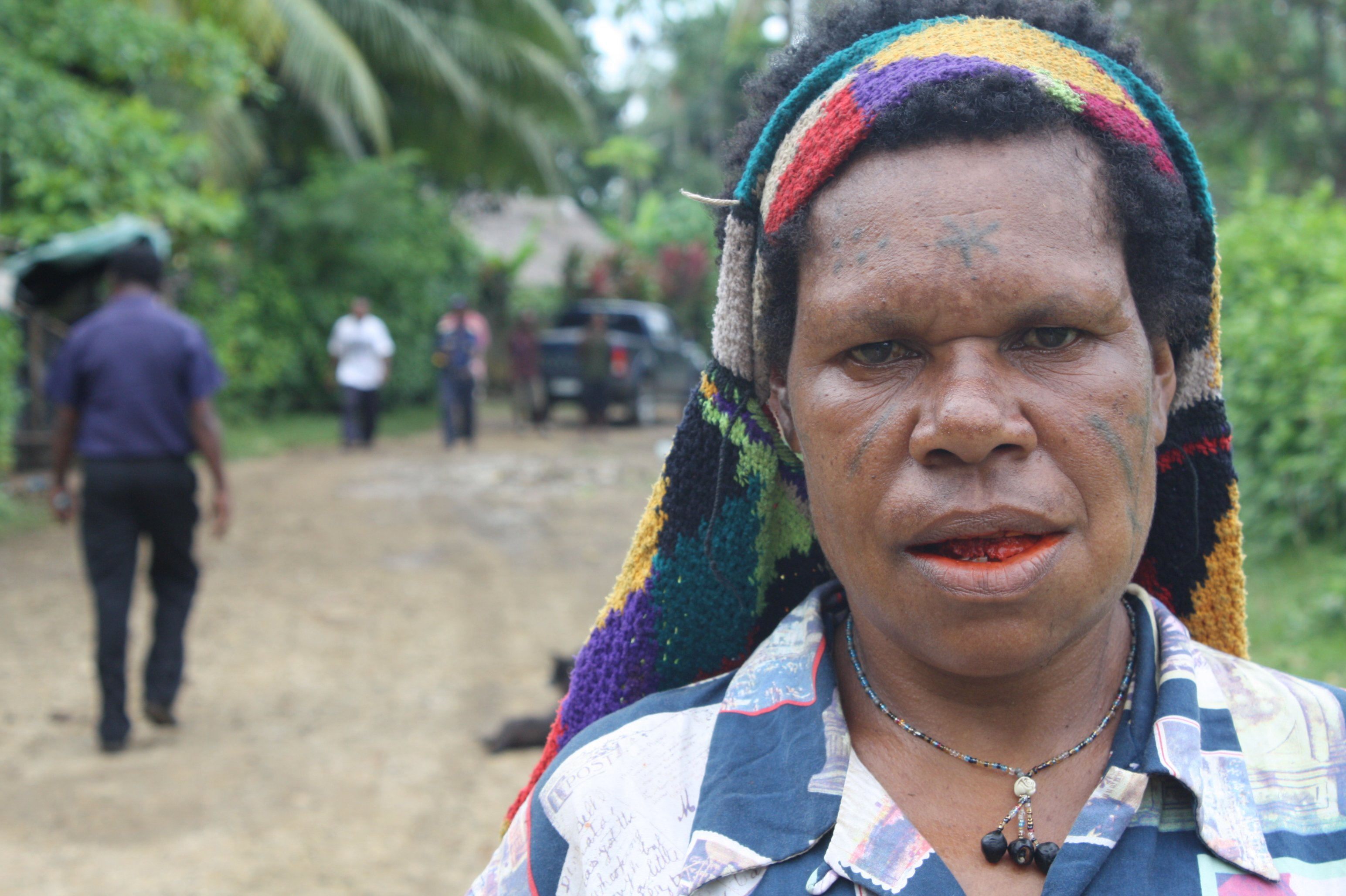 A woman outside the provincial capital of Madang. The native population is largely Melanesian and Papuan but is divided into many distinct cultures
