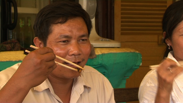 Bounpheng Wattana says grasshoppers are good chemical-free organic food