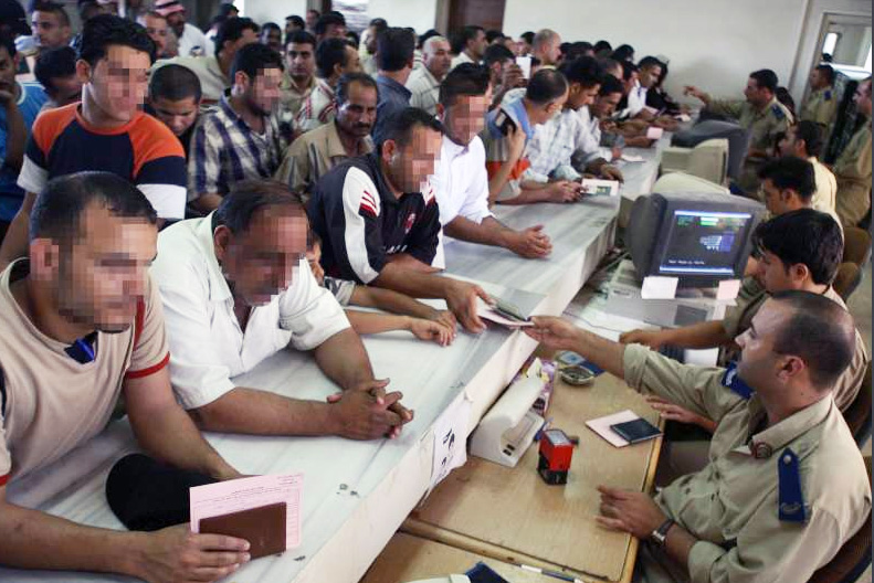 Iraqis crowd Syria's immigration centre
