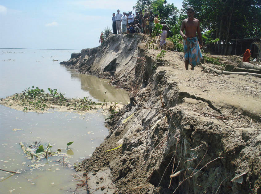 Land erosion in Kishoregonj District caused by monsoon flooding - July 2010