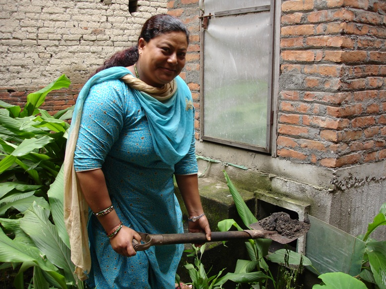 Saraswati Maharjam, a member of the sanitation and hygiene team in Siddhipur Village, outside Kathmandu, advocating the merits of humanure