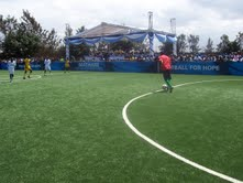 The football pitch at the Football for Hope Centre in Mathare, Nairobi, Kenya