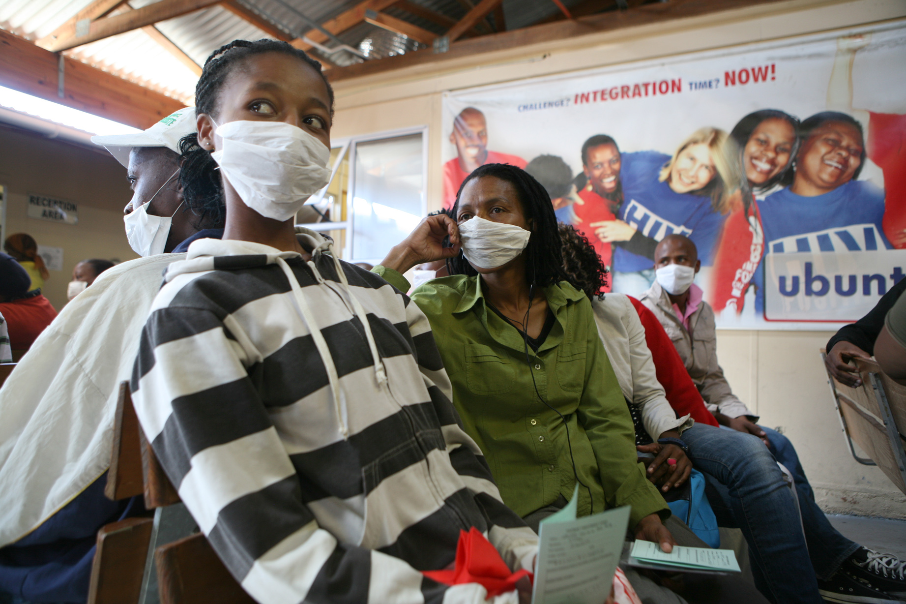 TB patients waiting in a hospital in Khayelitsha, Cape Town