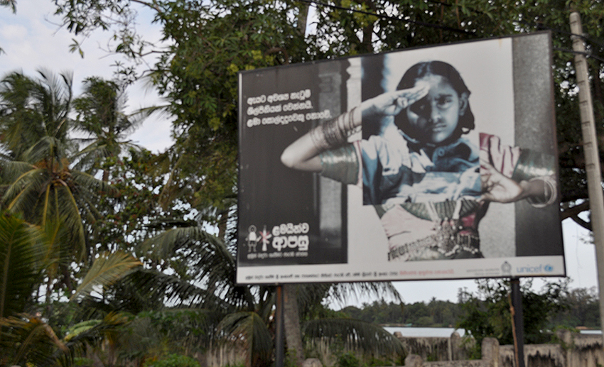 UNICEF campaign for the disarmament of (female) child soldiers. Thousands were forcibly recruited in the decades-long conflict in Sri Lanka