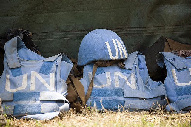 Helmet and flack jackets of the members of the 1 parachute battalion of the South African contingent of the United Nations Peacekeeping Mission in the Democratic Republic of the Congo (MONUC). For generic use