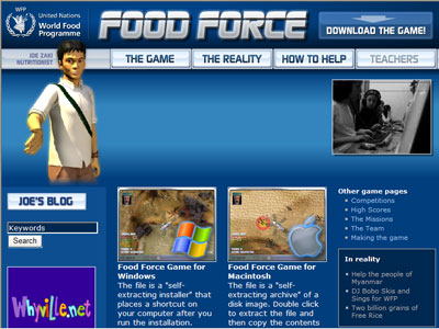 WFP's online game, Food Force, aims to teach users about food insecurity and its operations