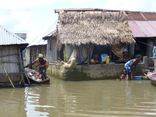 People affected by flooding in Benin