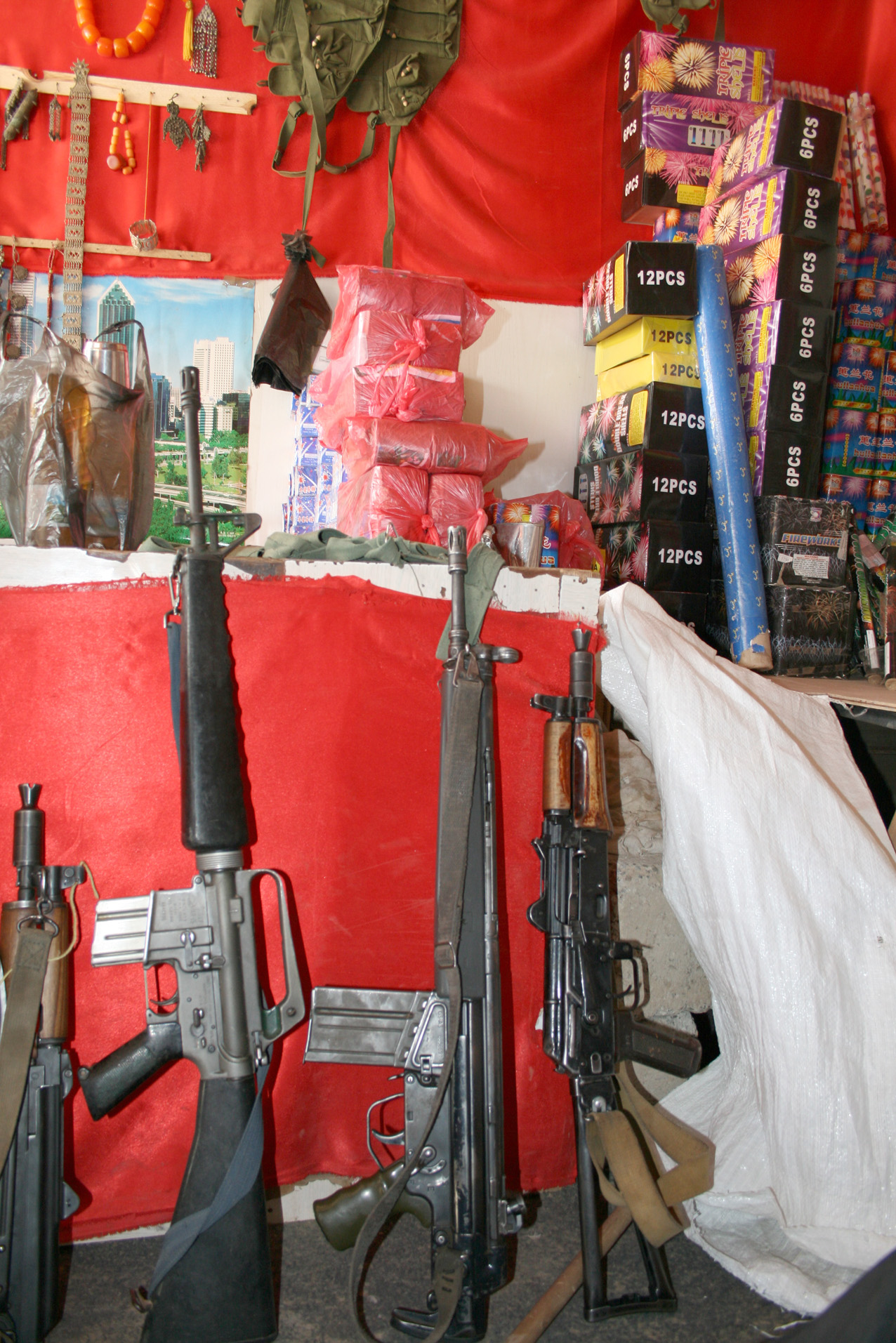 Rifles on display at a gun store in Amran, a conflict-affected governorate in the north of Yemen