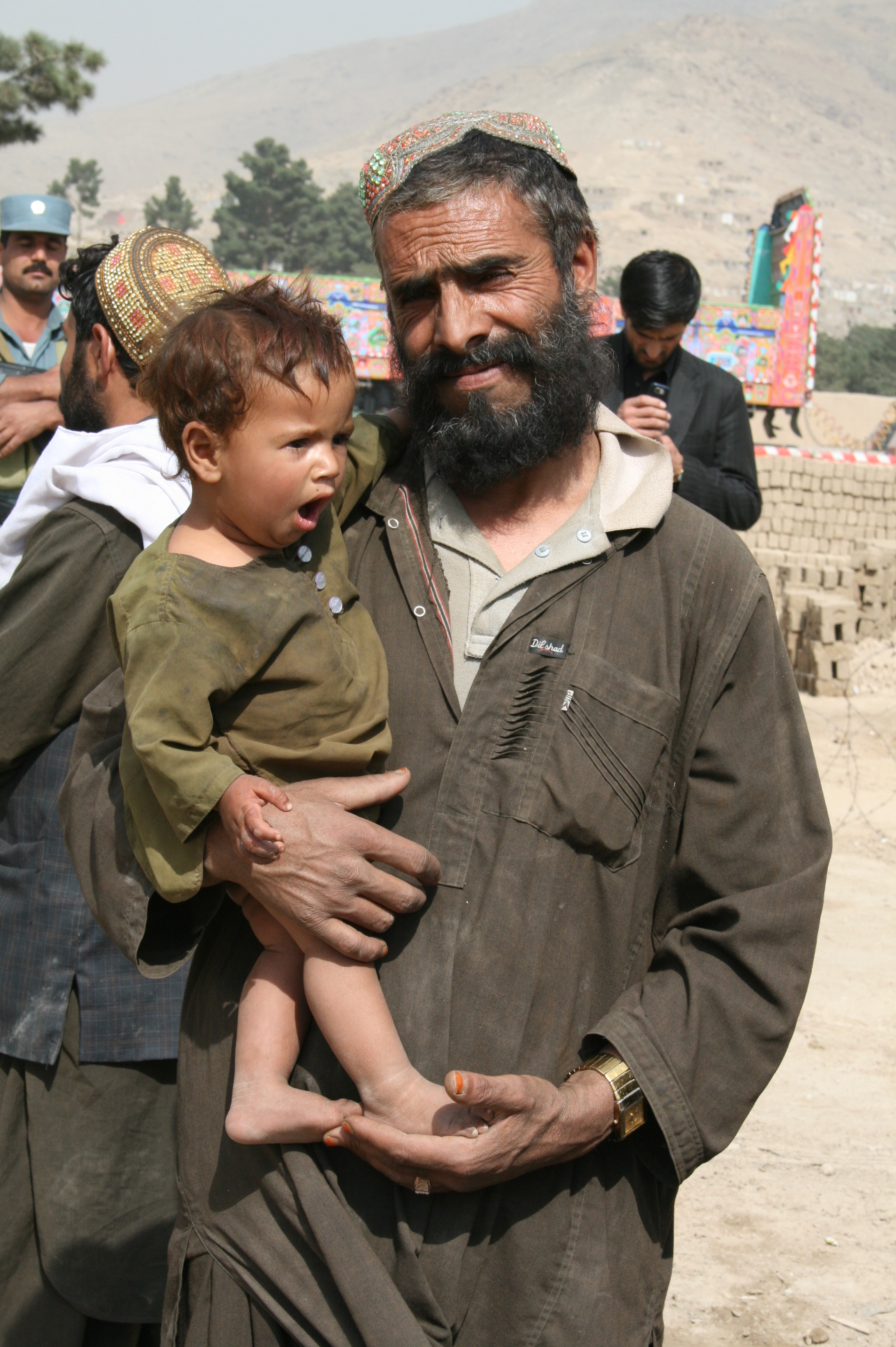 A displaced man outside a settlement in Kabul