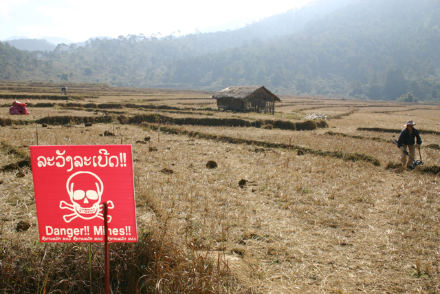 Sixty percent of the 300 people injured or killed by unexploded ordinances annually in Laos were undertaking normal activities at the time of their accident