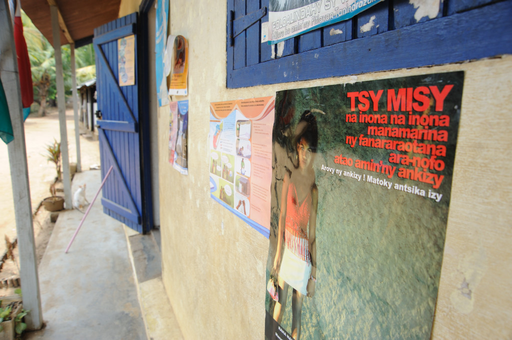 A poster in the fishing village of Ambatozavay, about 16 kilometres from Hellville, the capital of Nosy Be, warns against child prostitution