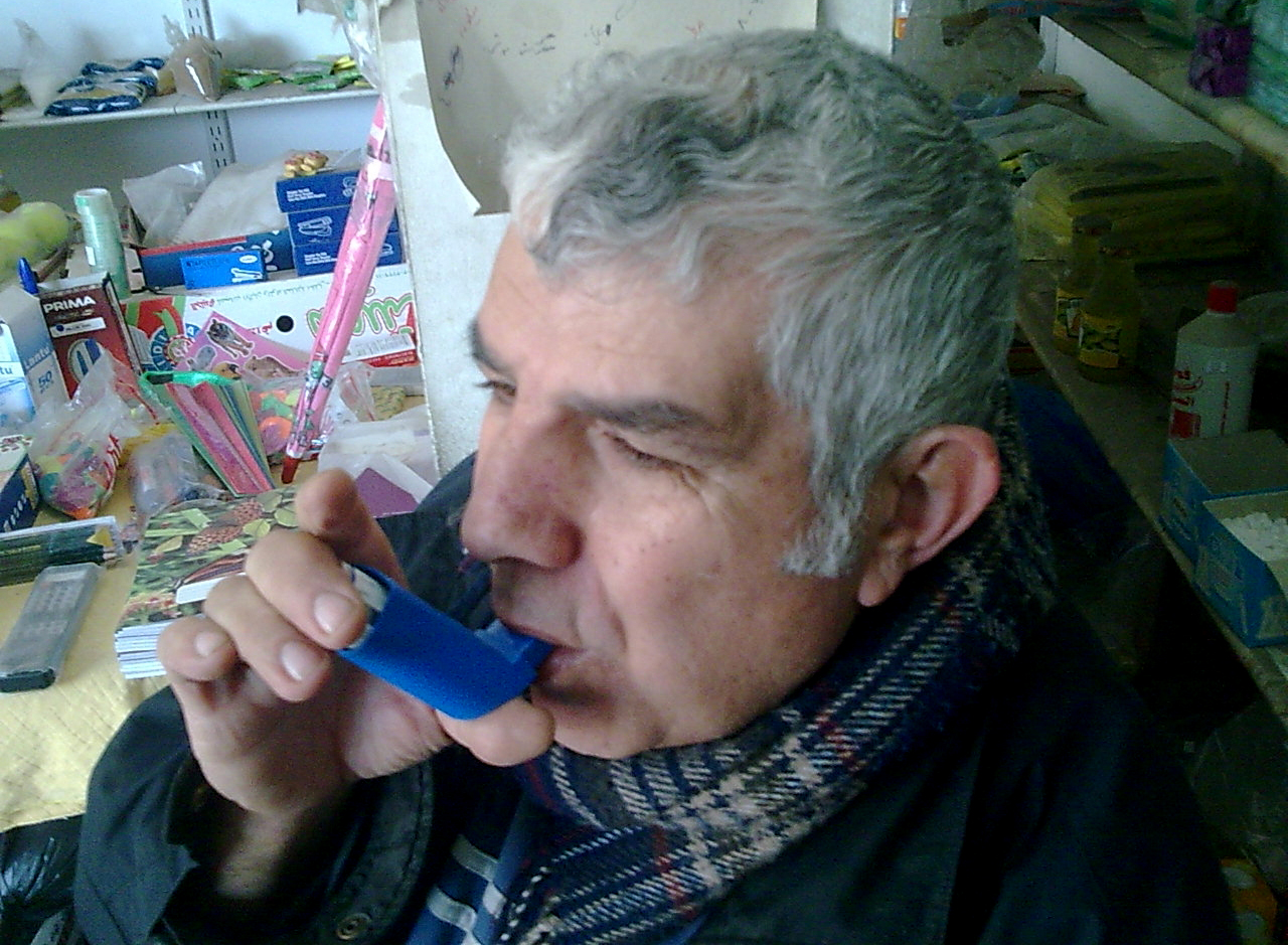 Asthma patient Saeed Ghaboun, 67-years old from Gaza City, says his ventoline inhaler has been unavailable at the health clinic for six months.  He managed to find the drug after scavenging local private pharmacies, but at ten times the cost. Saeed, like