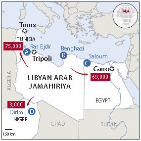 Humanitarian presence in Libya as well as numbers of people crossing into neighbouring countries