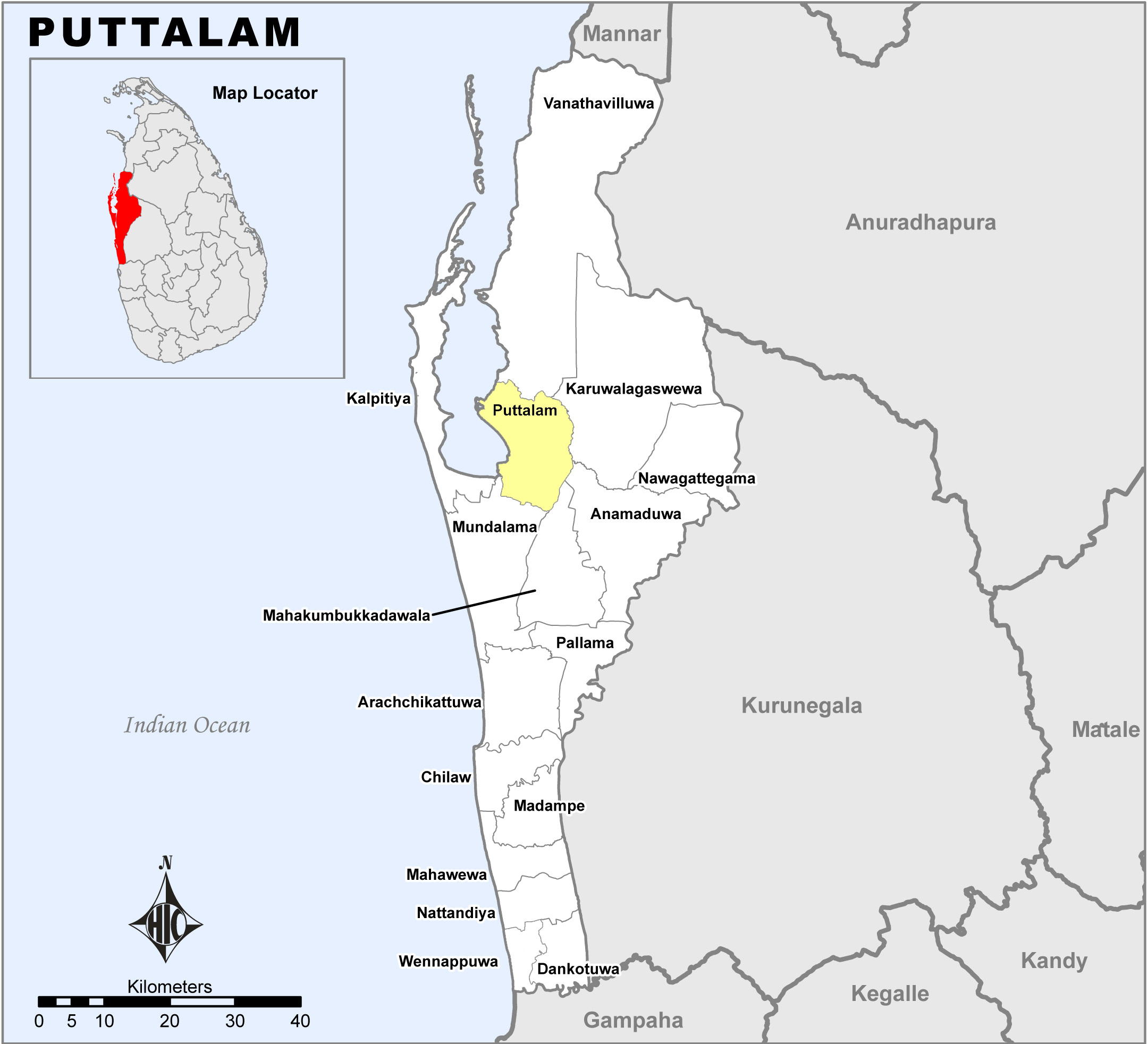 Map highlighting Puttalam district, Sri Lanka