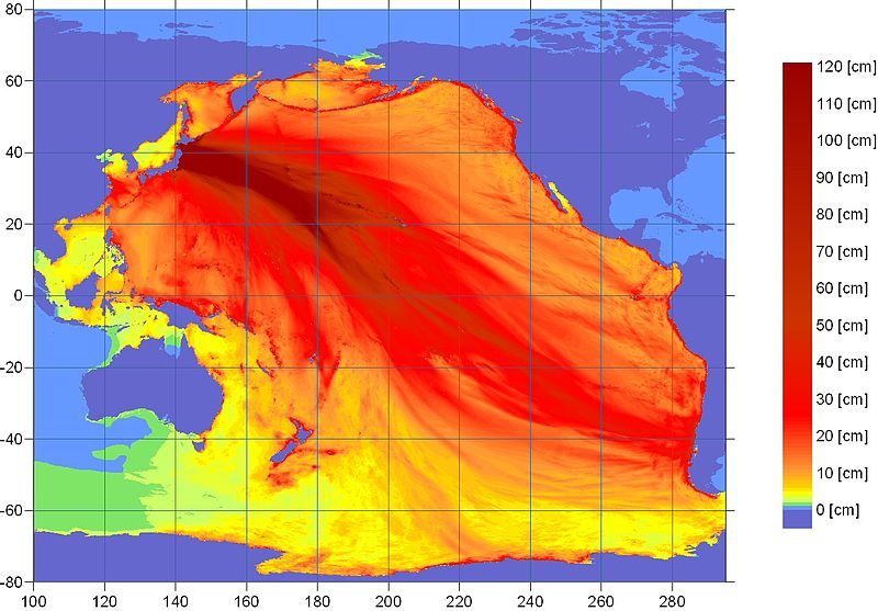 Ocean energy distribution forecast map for the 2011 Sendai earthquake from the U.S. NOAA