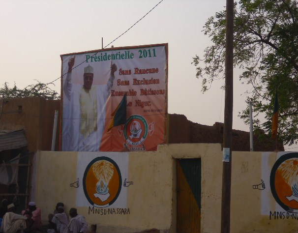 In Zinder, Niger, campaign billboard of presidential run-off candidate Seïni Oumarou. March 2011