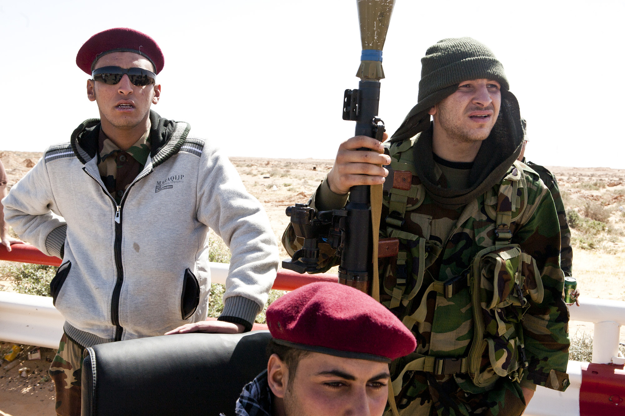 Rebels at a check point on the road between Benghazi and Ras Lanouf. March 2011