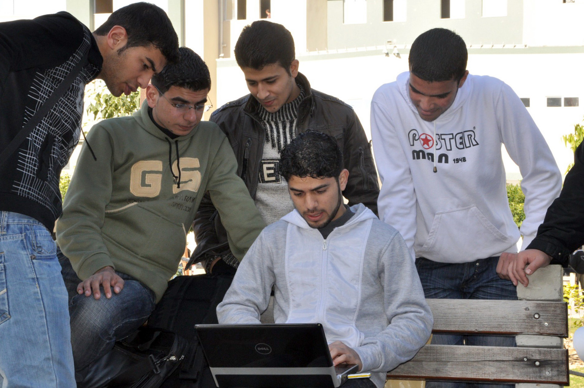 Undergraduate students on the green at Islamic University in Gaza City