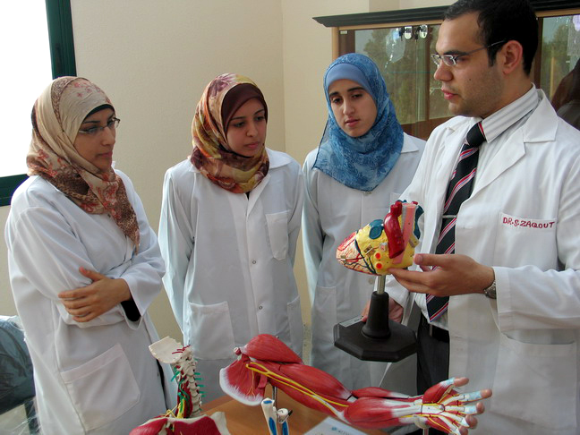 Medical students at Islamic University in Gaza City.  The University's first medical school class will graduate in 2011.  Although, the university science labs destroyed during Israel's operation Cast Lead (ending January 2009) were never rebuilt due