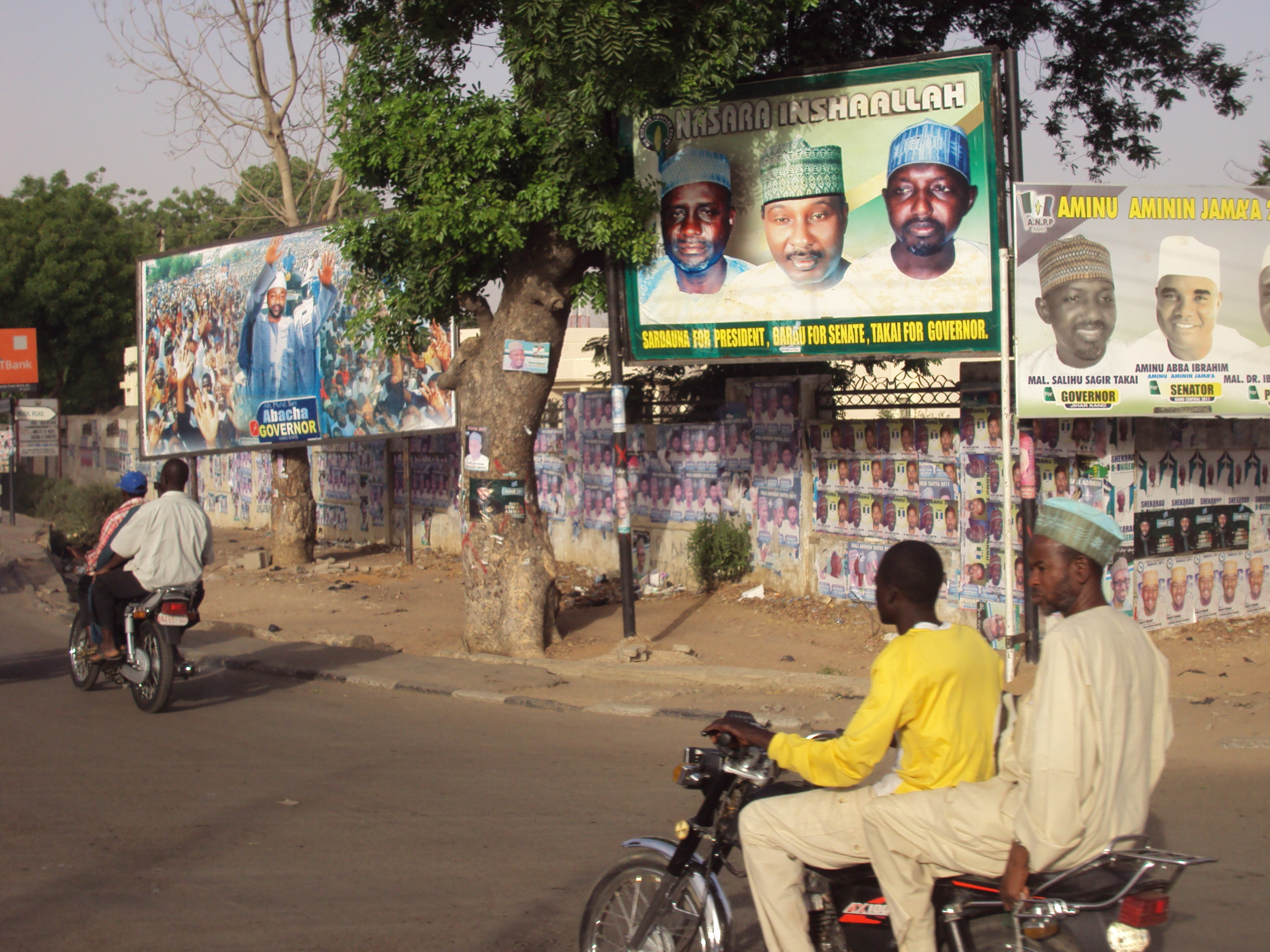 Campaign billboards in Kano. Nigerians are set to vote for a president, members of parliament and state governors in April 2011
