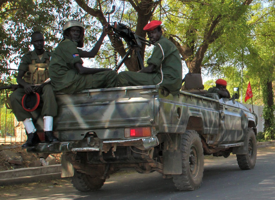 SPLA soldiers on patrol in Juba, southern Sudan