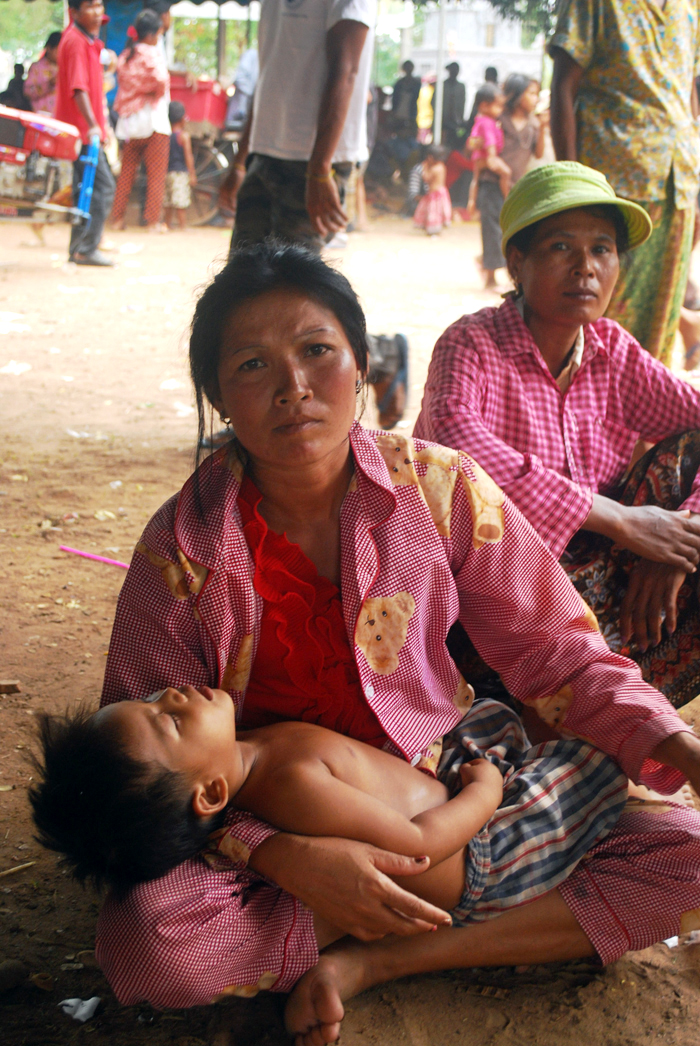 Dee Savi, 46, at a shelter in Samraong. Thousands have been displaced due to renewed fighting between Thai and Cambodian forces on 22 to 24 April, 2011