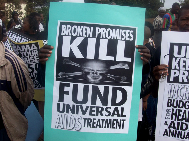 A civil society march in Nairobi to demand more funding for HIV