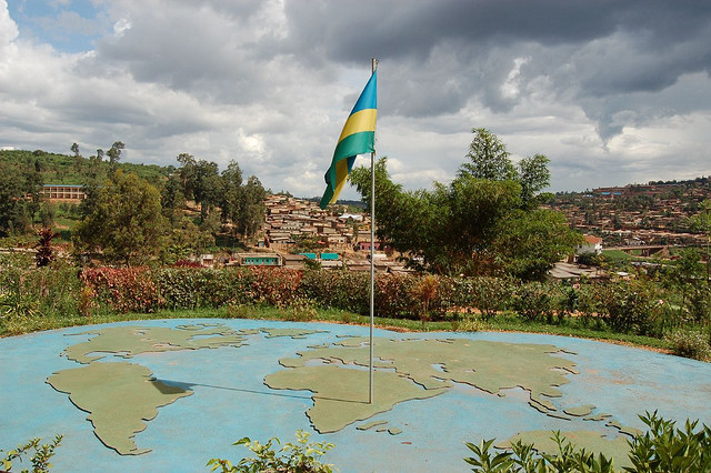 The lush hills and beauty of Kigali taken from the genocide mass grave site now the genocide memorial)