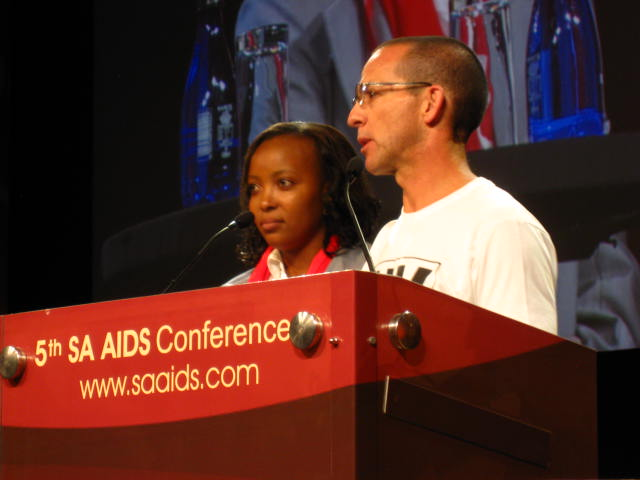 Mandisa Dlamini and Mark Heywood at the SA AIDS Conference 2011